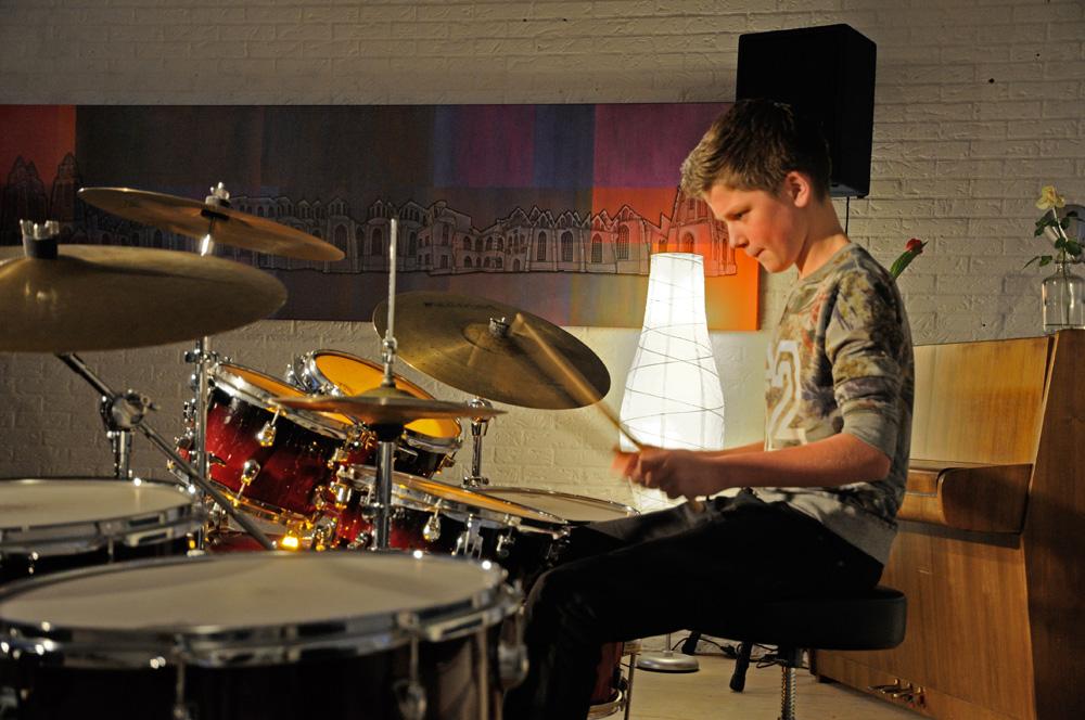 Drummer in actie